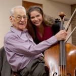 Judson Park resident Martin Simon, a long-time accomplished cellist with the Cleveland Orchestra, performed a recital with Cleveland Institute of Music student Caitlin Lynch. Lynch lives at Judson Manor through a special intergenerational housing collaboration between Judson and CIM. She and another student provide cultural programming for the residents in exchange for room and board. Photo courtesy of Courtney Judson.